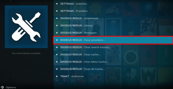 Choose Exodus Redux Clear Providers
