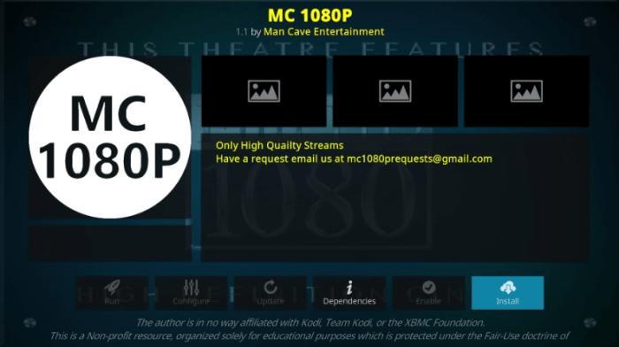 How to Install MC 1080P Kodi Addon on Leia