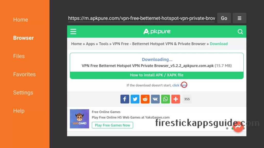 Betternet VPN Firestick