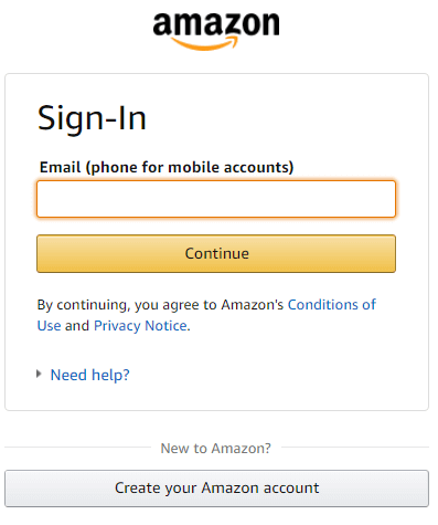 Sign in with the Amazon account
