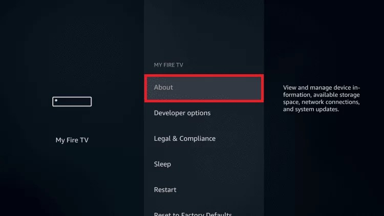 select About option