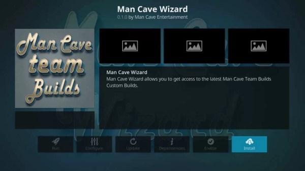Click Install - Mancave Wizard Kodi Builds