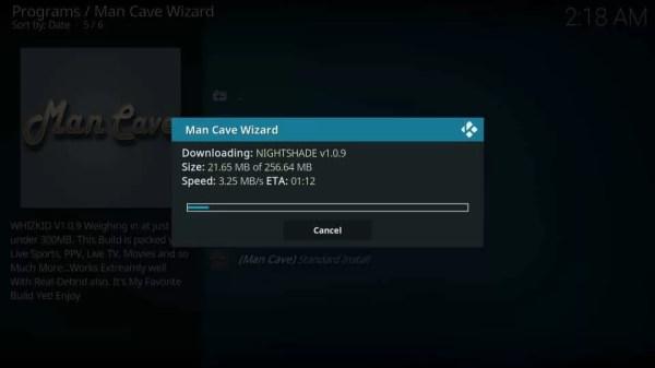 Installation progress - Mancave Wizard Kodi Builds