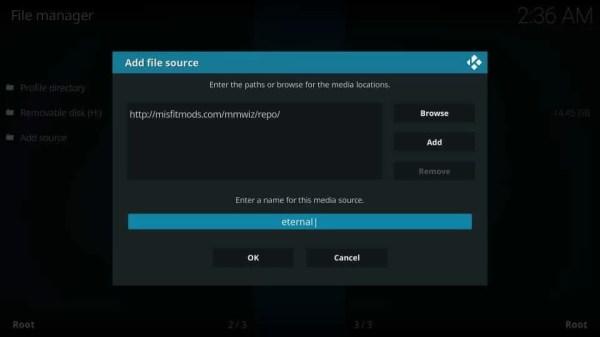 Enter Source Name - Eternal TV