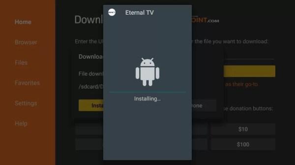 Eternal TV Apk Installing