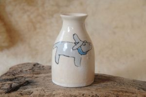 Cream Dog Vase