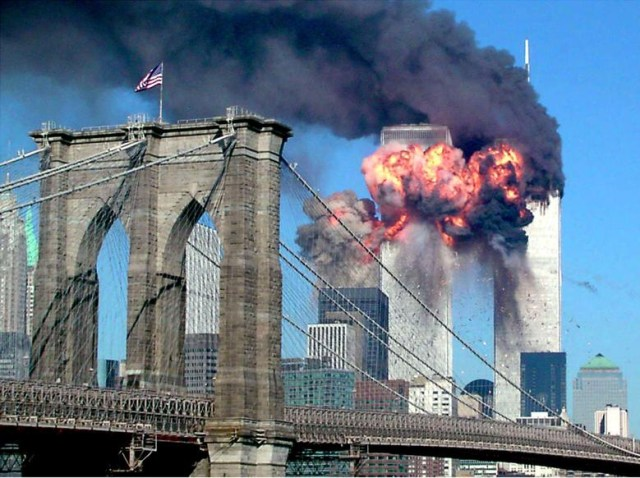 A picture of the World Trade Center in flames as a reminder of what people are capable of and that we must stand against terrorism.
