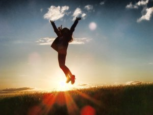 leap up in the air in celebration for a good day at work and great job done