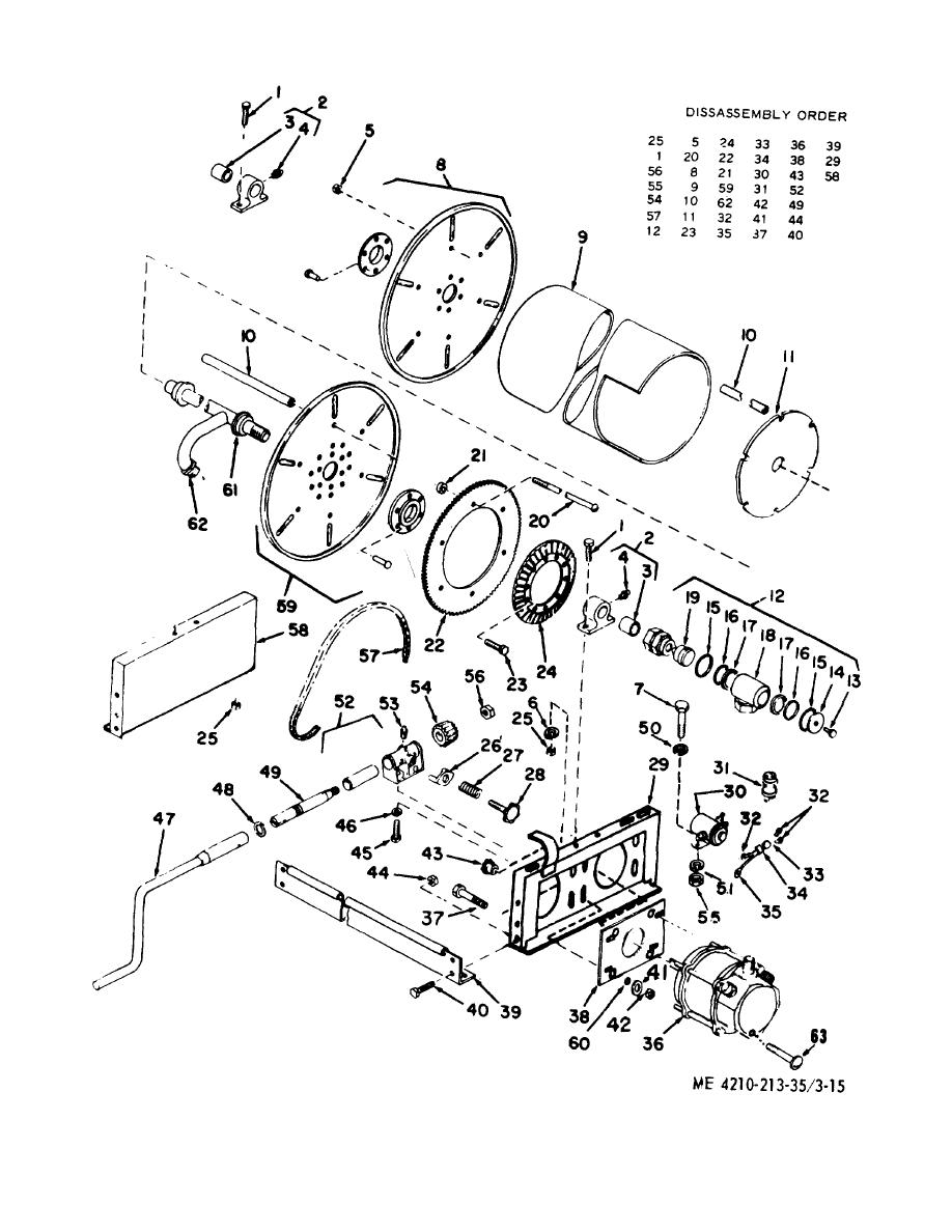 Figure 3-15. Hose reel assembly, exploded view.