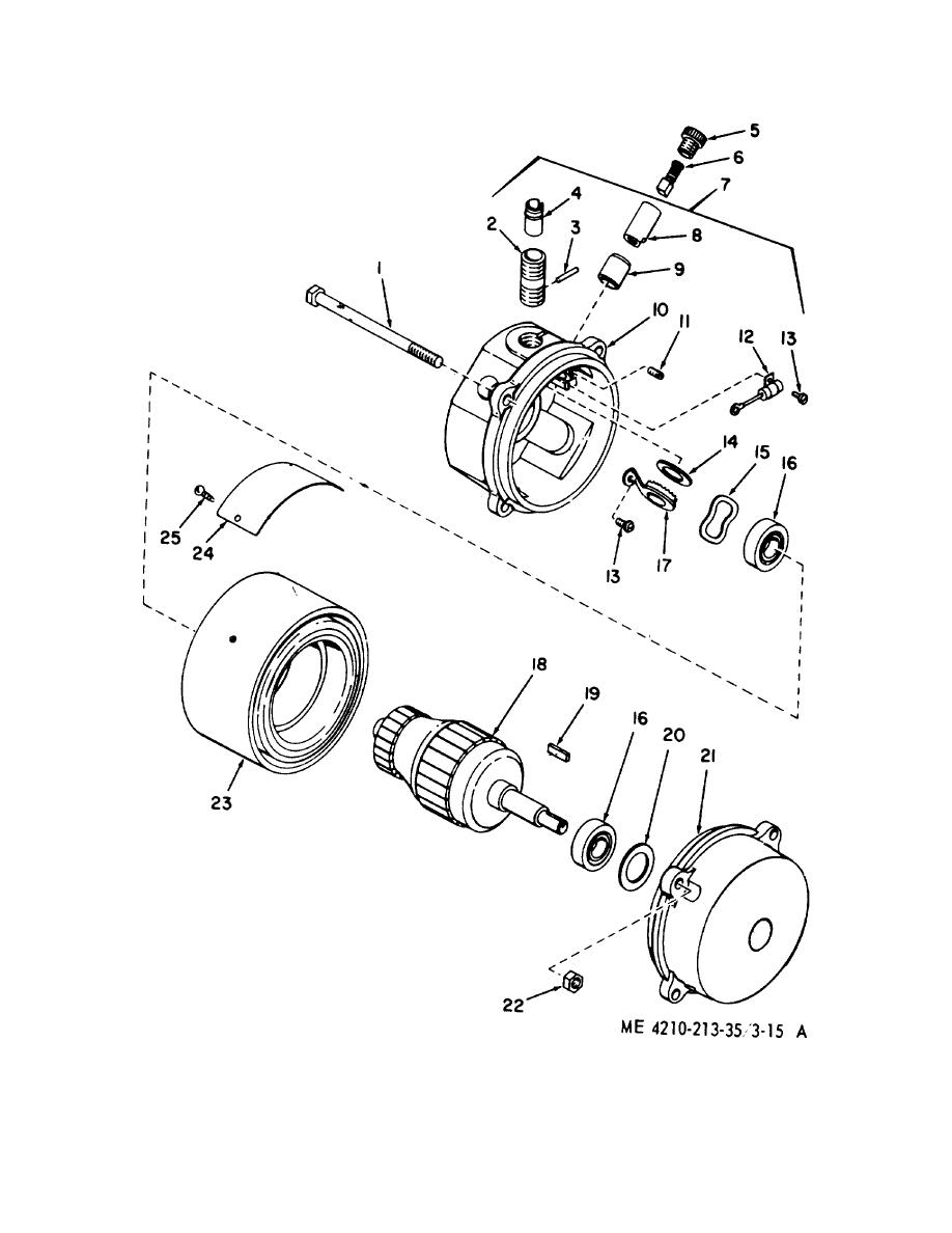 Figure 3-15A. Hose reel motor, exploded view.
