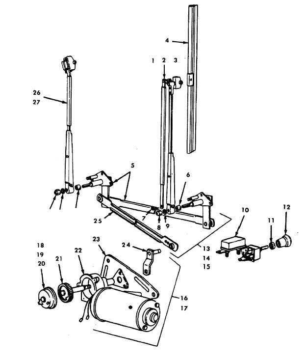 FIGURE E-71. WINDSHIELD WIPERS AND MOTOR