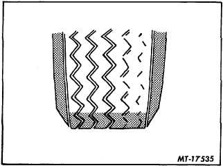 Fig. 15 Excessive Even Tread Wear on One Side Caused by