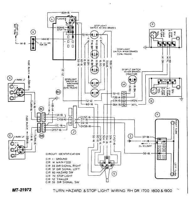 TURN HAZARD & STOP LIGHT WIRING RH DR 1700 1800 AND 1900