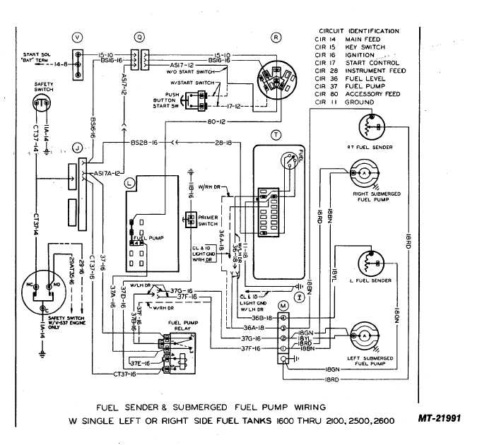 fuel sender and submerged fuel pump wiring with single