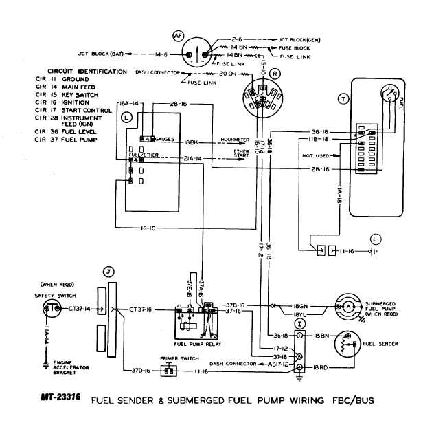 fuel sender and submerged fuel pump wiring FBC/BUS