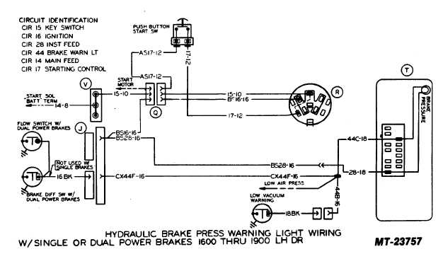 hydraulic brake press warning light wiring w/ single or