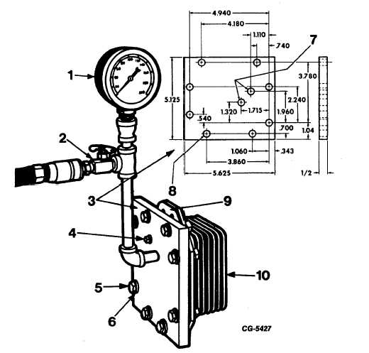 Fig. 134 Pressure Testing Engine Oil Cooler Core Assembly