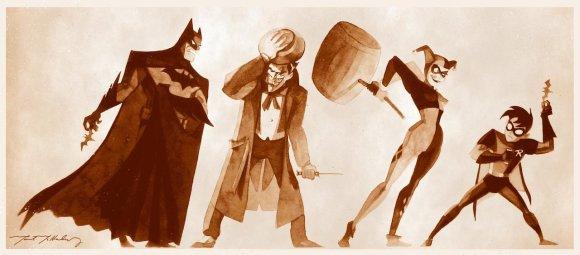 batman_vs_joker_robin_vs_harley_by_markmchaley-d62o4pa
