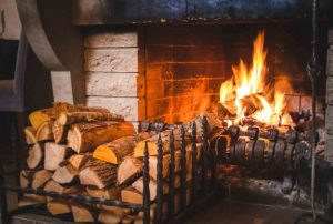 open fire burring seasoned logs