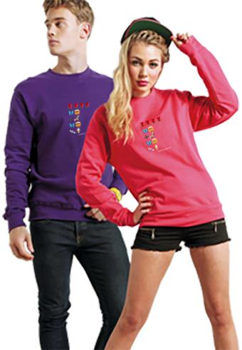 Sweatshirt product shot guy purple girl pink