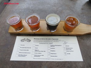 Sample flights of 4 beers each are available at the restaurant and bar.