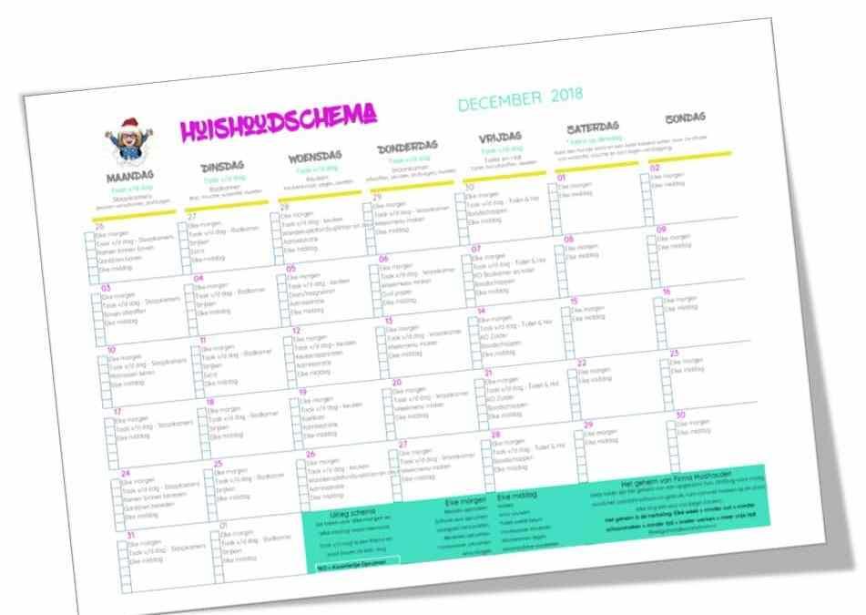 Huishoudschema December 2018 | gratis printable