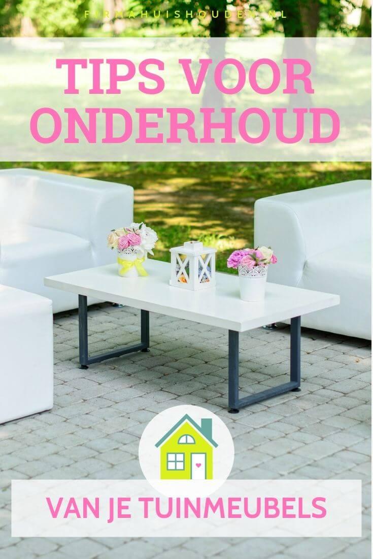 Wit loungeset op een zonnig terras - 9 Tips voor het onderhoud van je tuinmeubels