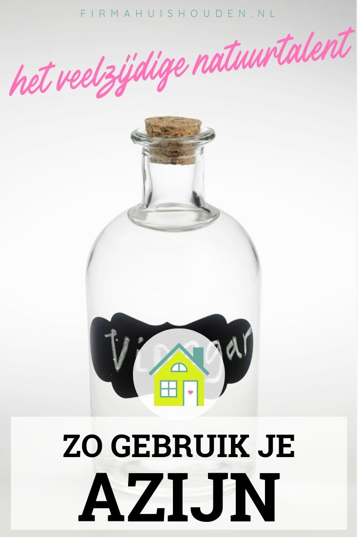 Fles met stop en gevuld met azijn - afbeelding met tekst voor Pinterest - Titel: Azijn, het veelzijdige natuurtalent
