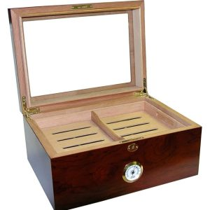 Glass Top Cherry Humidor Open