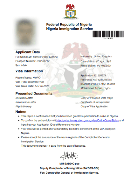 sample Nigeria visa on arrival document