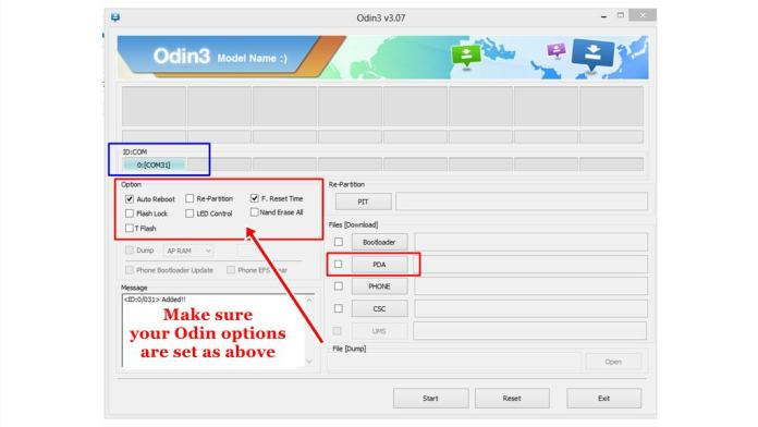 Odin Options settings to avoid brick