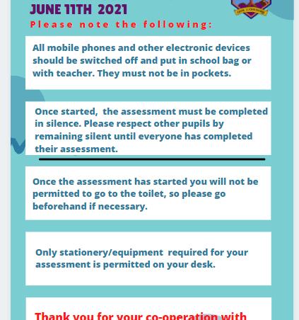 Assessments April 26th – June 11th 2021