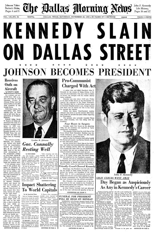 Dallas Morning News Front Page (11-23-63)