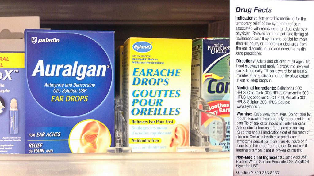 example of homeopathic products sold directly next to real medications in pharmacies