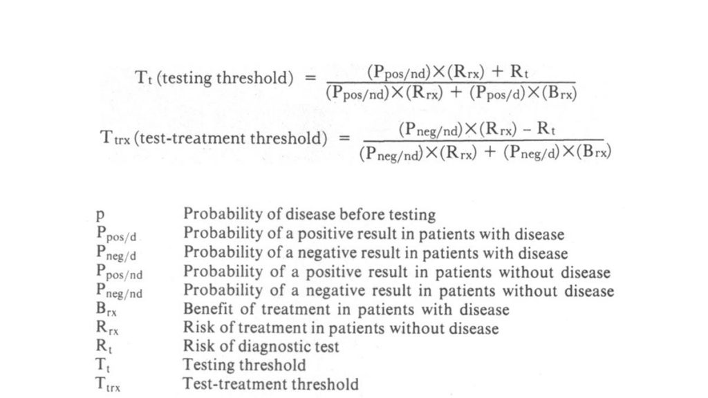 Test and treatment threshold