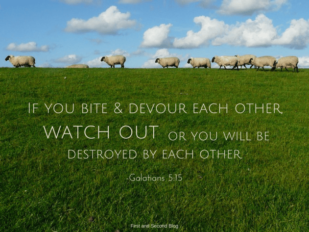 Bible quote about destroying eachother with selfishness and words