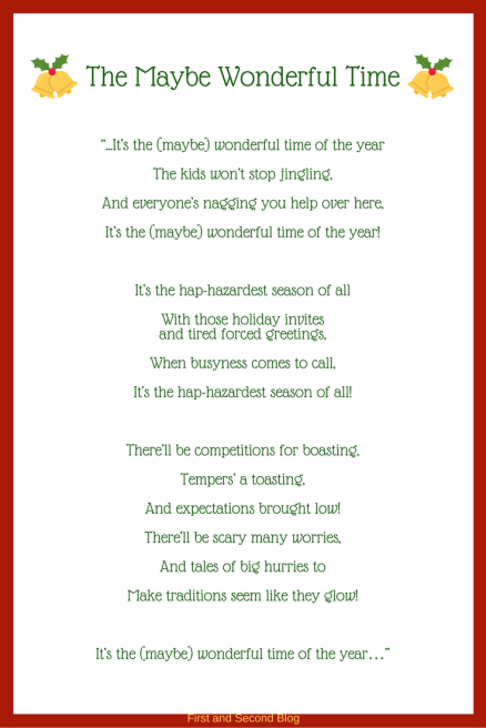 Parody Lyrics to It's the Most Wonderful Time of the Year. From the Finding Contentment Series for Christmas.