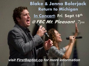 Blake and Jenna Bolerjack First Baptist Mount Pleasant 9-18-15