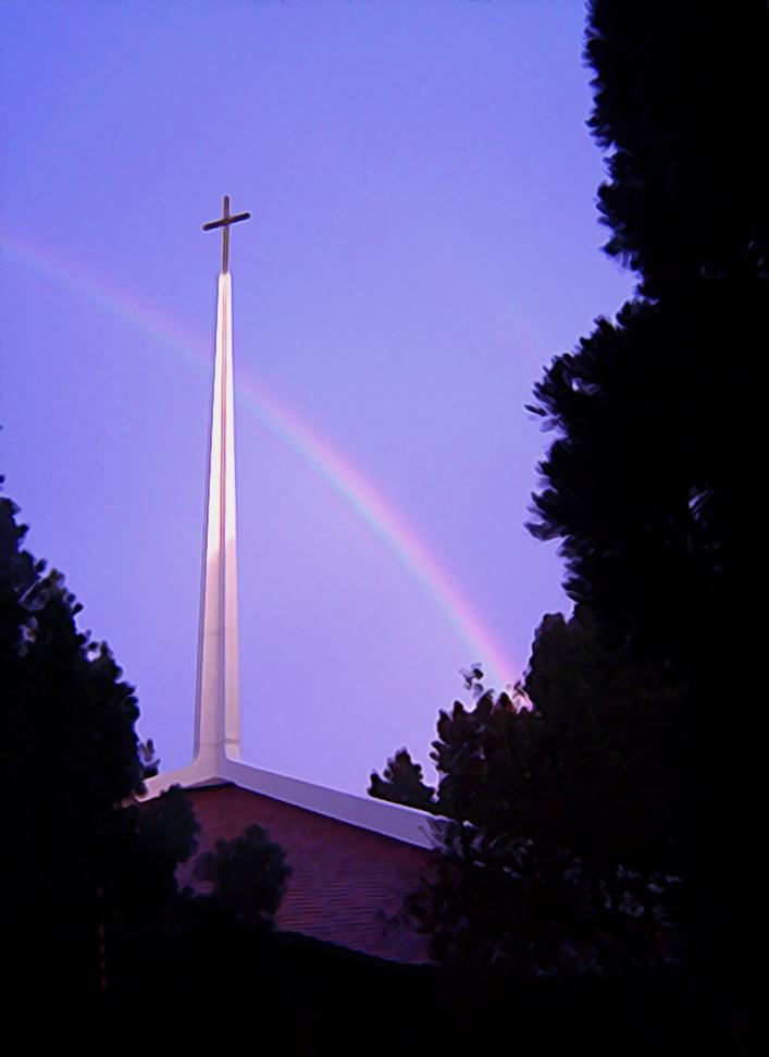 Spire with rainbow