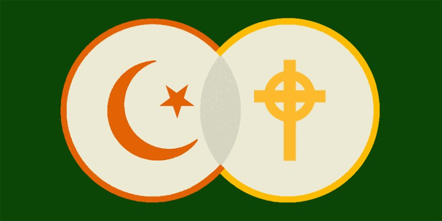Symbols of Islam and Christianity