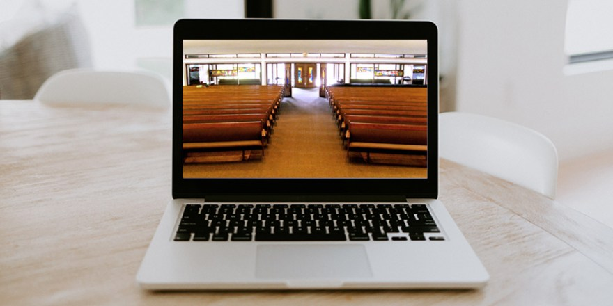 Church sanctuary on a laptop