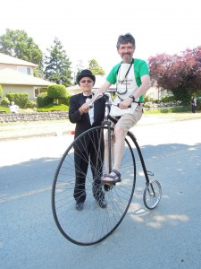Patrick on Penny Farthing bicycle as depicted in our newsletter