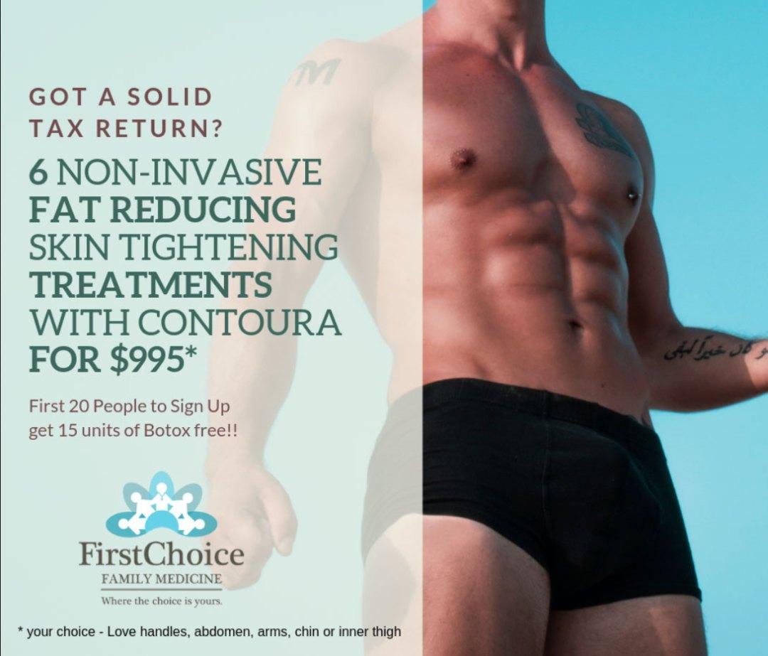 non invasive fat reducing male model