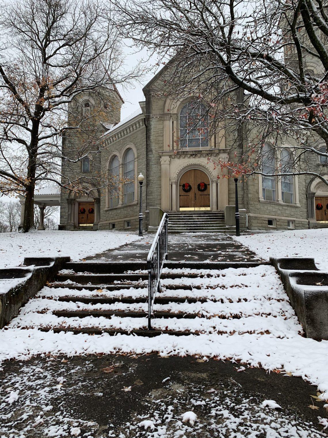 First Fallen Snow on Church Lawn