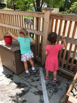 Painting the fence - with water!