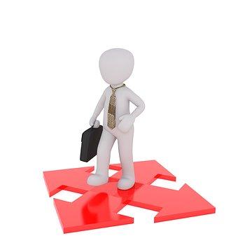 Homme blanc et croix multidirectionnelle rouge, FIRST Compta expert comptable, conseils, audit villefranche