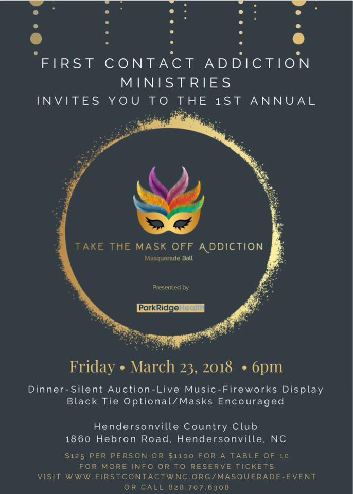 2018_Invitation- First Contact Masquerade Fundraiser - Drug & Alcohol Addiction Treatment Center Hendersonville, NC