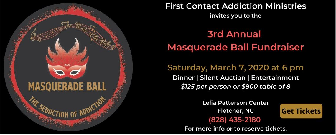 "First Contact Annual Fundraiser – Masquerade Ball 2020 – ""Music of the Night, The Seduction of Addiction"""