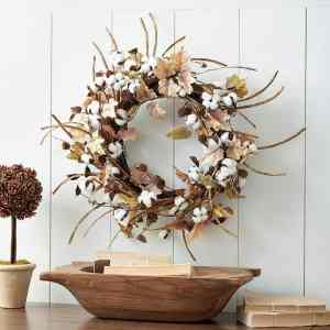 Fall Cotton Stem Wreath
