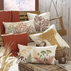 Wheat Bundle Embroidered Pillow Covers